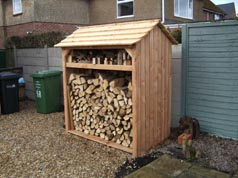 Style C Log store with kindling shelf